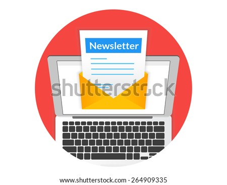 Newsletter illustration with laptop isolated round red icon - stock vector
