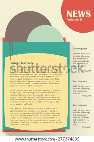 Newsletter or website template design. Can be used in business and non-profit organizations. Vector illustration in flat style. - stock vector