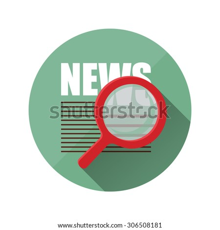 newspaper and magnifier.Icon flat style - stock vector