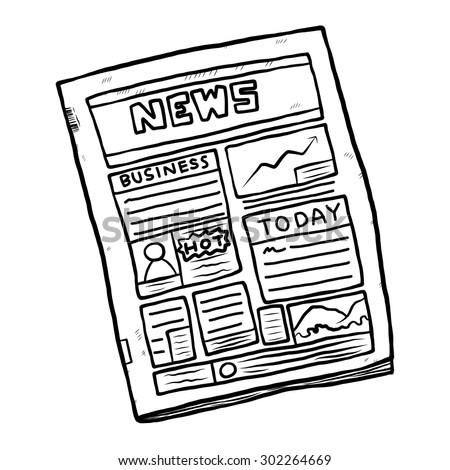 newspaper / cartoon vector and illustration, black and white, hand drawn, sketch style, isolated on white background. - stock vector