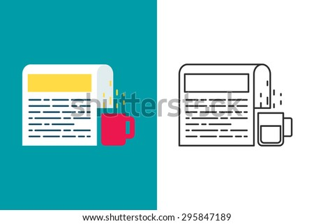 Newspaper flat and line style vector icon