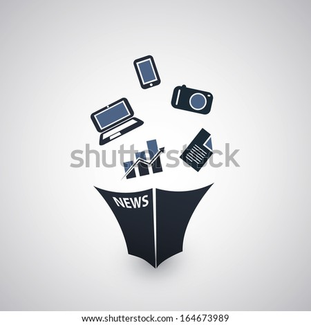 Newspaper Icon Design / Technology, Devices, Economy - stock vector
