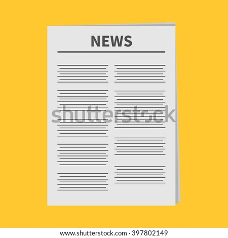 Newspaper icon Flat design Isolated Yellow background Vector illustration - stock vector