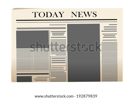 Newspaper icon isolated on white background for media design - stock vector