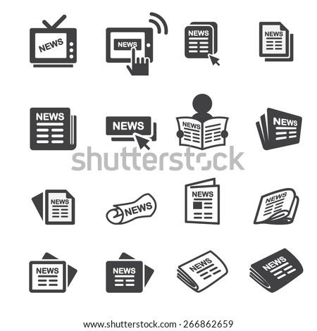 newspaper icon set - stock vector
