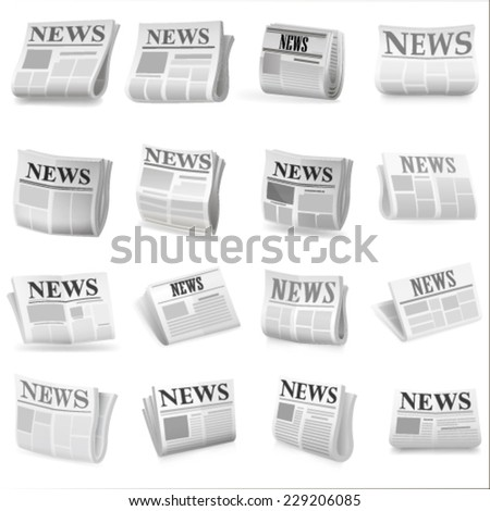Newspaper icon set. Vector - stock vector