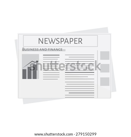 Newspaper icon vector. Blank newspaper. Business and finance - stock vector