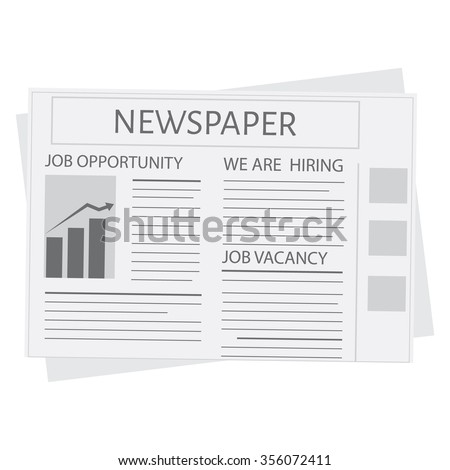Newspaper icon vector. Blank newspaper. Business and finance. We are hiring. Job opportunity. Job vacancy - stock vector