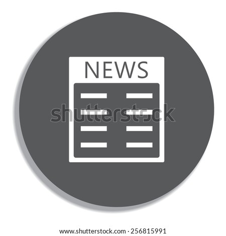 Newspaper icon. Vector on a grey background - stock vector