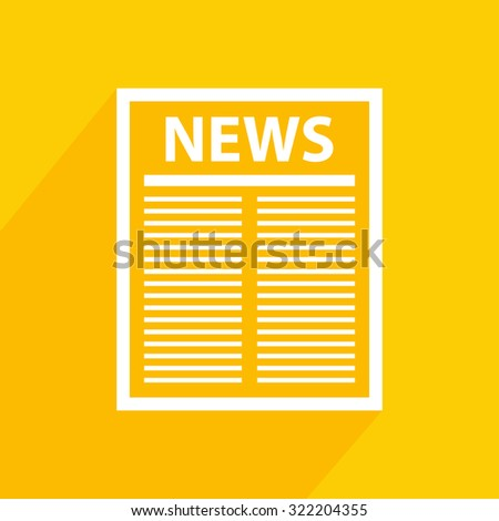Newspaper icon with  shadow. Vector illustration. - stock vector