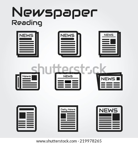 Newspaper icons - stock vector