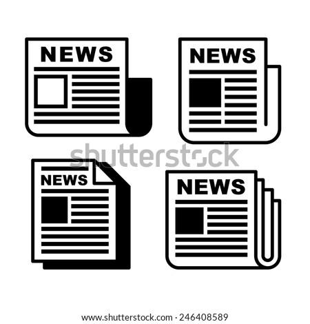 Newspaper icons set on white . Vector illustration EPS8. - stock vector