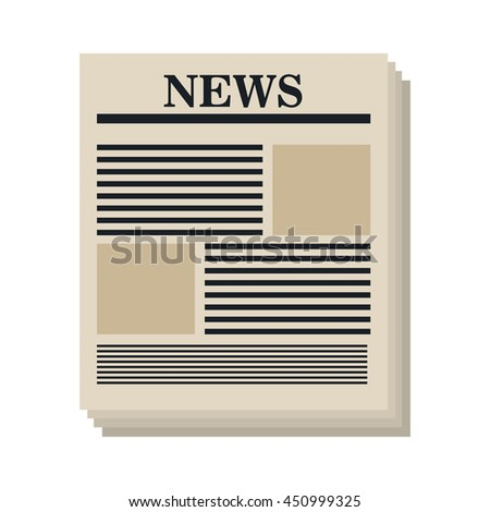 Newspaper isolated flat icon, vector illustration graphic design. - stock vector