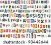 Newspaper letters, numbers and punctuation marks, vector illustration - stock photo