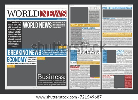 Newspaper Online Template Design World Business Stock Vector