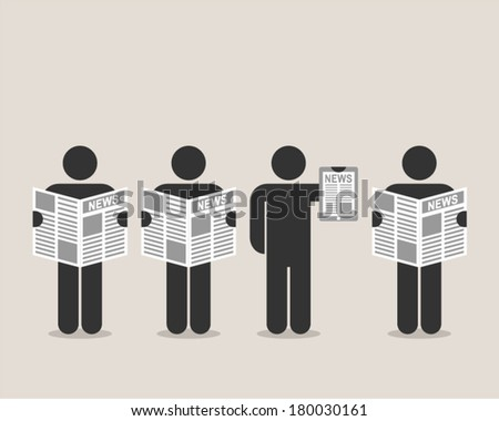 newspaper or internet - stock vector