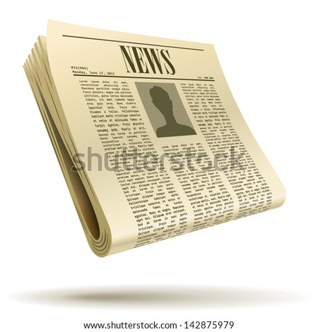 Newspaper realistic vector illustration isolated on white background. - stock vector