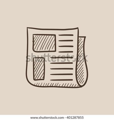 Newspaper sketch icon. - stock vector