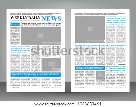 Newspaper Template Layout Print Design Blue Stock Vector 1063659461