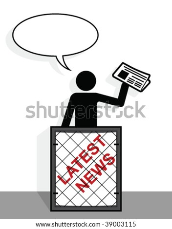 Newspaper vender with copy space for headline text - stock vector