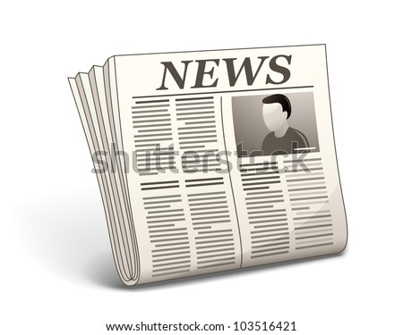 Newspaper with illustration. Vector illustration of newspaper