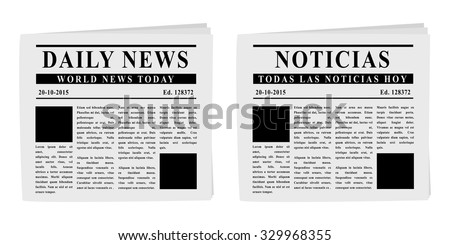 Newspapers front pages in English and Spanish - stock vector