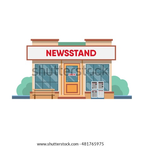 Newsstand selling newspapers and magazines in town. Vector illustration.