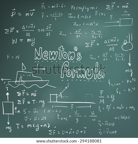 Newton law theory and physics mathematical formula equation, doodle handwriting icon in blackboard background with hand drawn model, create by vector