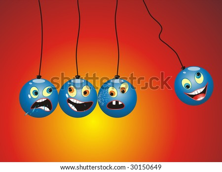 Newton Pendulum mobile with funny cartoon faces on it. - stock vector