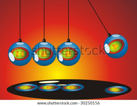 Newton Pendulum mobile with media player icons - stock vector