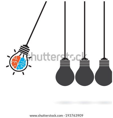 Newton's cradle concept on background,creative light bulb Idea concept,business idea ,abstract background.vector illustration  - stock vector