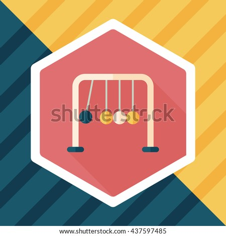 Newton's Cradle flat icon with long shadow,eps10 - stock vector