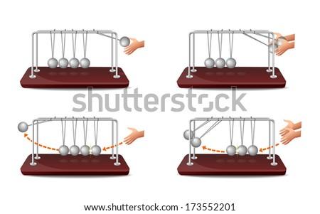 Newton's Cradle - Illustration - stock vector