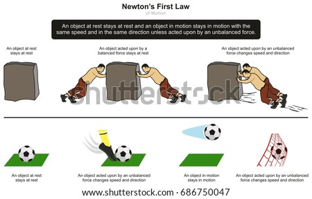 First Law Motion Infographic Diagram Examples Stock Vector 686750047