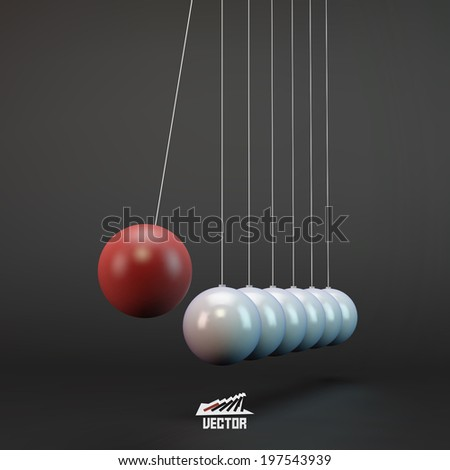 Newtons Cradle Vector Illustration. Business 3D Concept. - stock vector