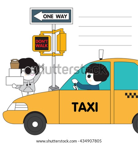 Newyork Taxi Character Paper Note illustration