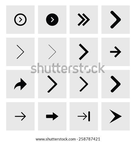 Next arrow icon set. simple pictogram minimal, flat, solid, mono, monochrome, plain, contemporary style. Vector illustration web internet design elements - stock vector