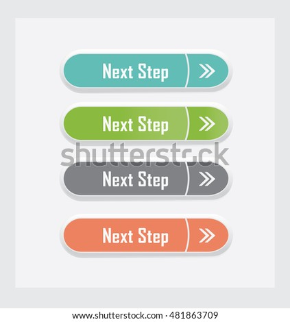 Next step. Set of vector web interface buttons. Color variations.