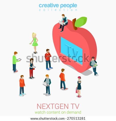 Nextgen online internet tv flat 3d web isometric infographic vector. Next generation television. Micro people crowd before huge apple shaped tv set screen. Creative people collection. - stock vector