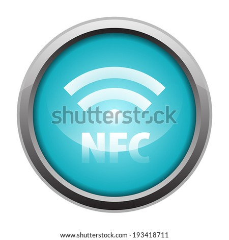 NFC Near-field communication metallic icon button blue