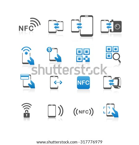 NFC technology icon set - Flat Series - stock vector