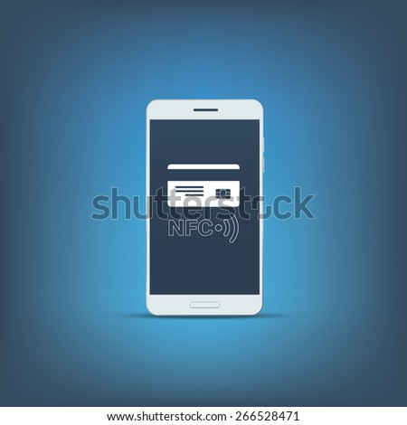 NFC technology symbol with credit card on smartphone screen. Mobile payment concept marketing. Eps10 vector illustration. - stock vector