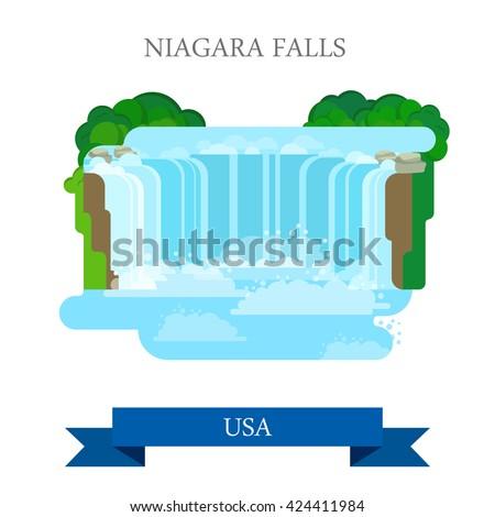 niagara falls united states canada flat stock vector 424411984 rh shutterstock com niagara falls clipart free Niagara Falls Logo