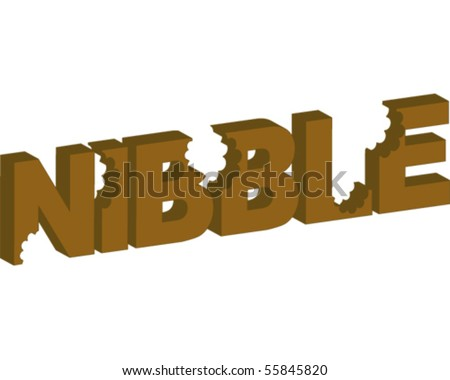 Nibble word three dimensional - stock vector