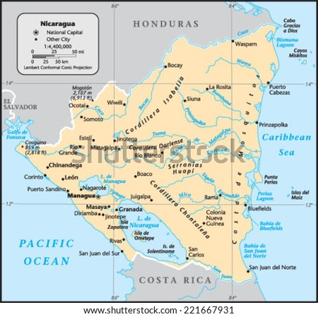 Azerbaijan Country Map Stock Vector Shutterstock - Country map of nicaragua