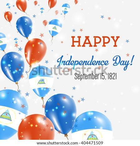 Nicaragua Independence Day Greeting Card. Flying Balloons in Nicaraguan National Colors. Happy Independence Day Nicaragua Vector Illustration.