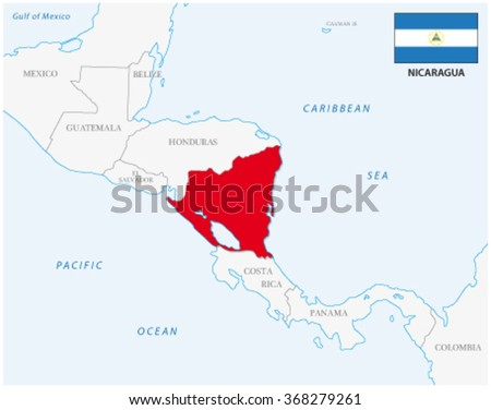 nicaragua map with flag - stock vector