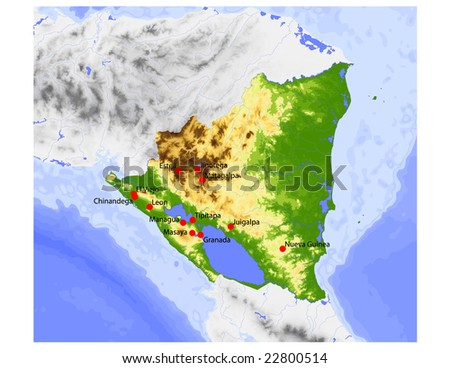 Nicaragua. Physical vector map, colored according to elevation, with rivers and selected cities. Surrounding territory greyed out. 58 layers, fully editable. Data source: NASA - stock vector