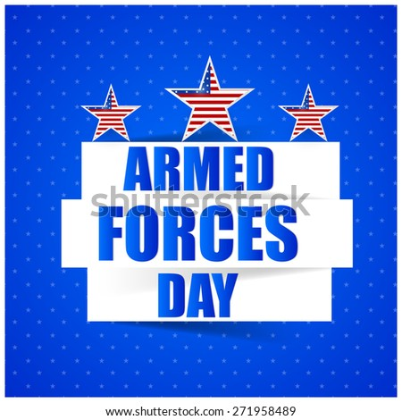 Nice abstract for Armed Forces Day with three star contains US flag in a creative blue colour background. - stock vector