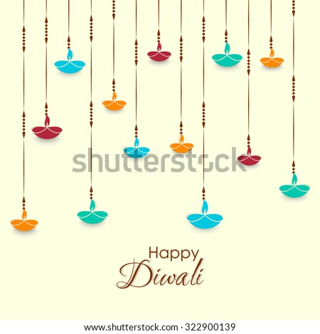 nice and beautiful vector abstract for Happy Diwali with creative deep illustration in a light yellowish colour in a background. - stock vector